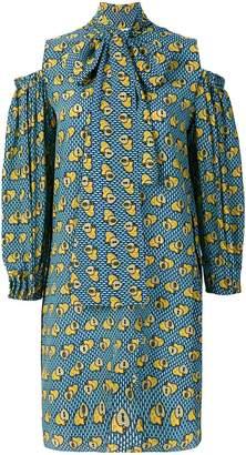 Fendi heart print cold-shoulder dress