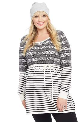 Motherhood Maternity Plus Size Fairisle Babydoll Maternity Sweater