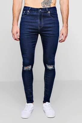 boohoo Spray On Skinny Jeans With Ripped Knees