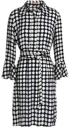 Michael Kors Belted Polka-Dot Silk Dress