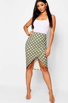 boohoo Polka Dot Wrap Split Midi Skirt