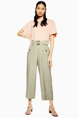 Topshop Womens Cupro Belt Crop Wide Leg Trousers - Khaki