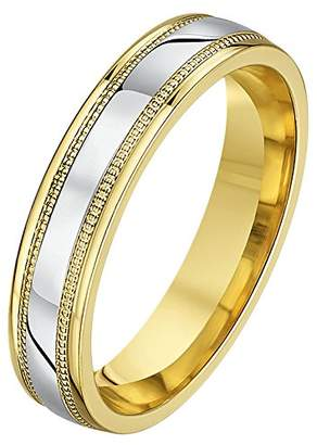 Theia His & Hers 14ct Yellow and White Gold Two-Tone 4mm Millgrain Wedding Ring - Size N