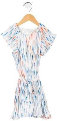 Bleu Comme Gris Girls' Cap Sleeve Pleated Dress