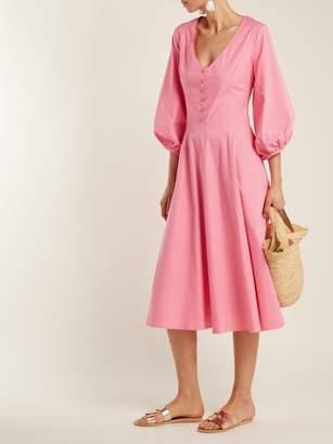 STAUD Veronica Cotton Poplin Midi Dress - Womens - Pink
