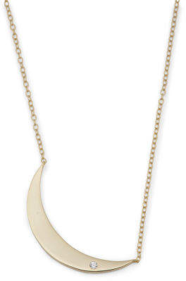 Sterling Silver Cz Half Moon Necklace