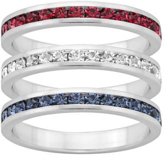 Swarovski Traditions Red, White & Blue Crystal Sterling Silver Eternity Ring Set