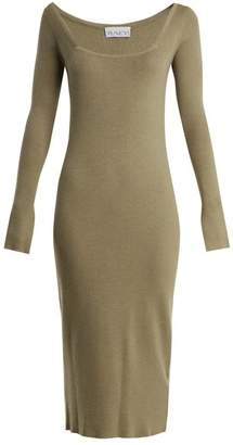 Raey Square Neck Ribbed Cashmere Dress - Womens - Grey