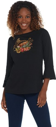 Factory Quacker Bell Sleeve Embellished Front Motif Knit Top