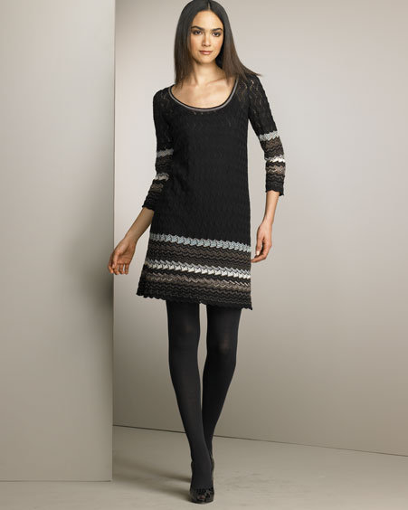 M Missoni Sharkfin-Striped Dress
