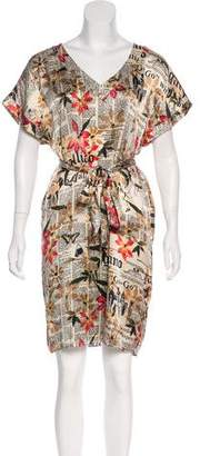 John Galliano Newspaper Floral Print Silk Dress
