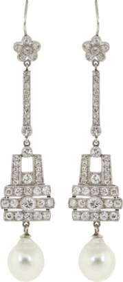 FRED LEIGHTON Art Deco Diamond And Cultured Pearl Pendant Earrings