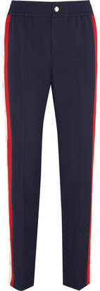 Gucci Striped Wool-blend Crepe Track Pants - Navy