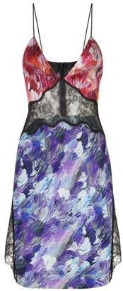 La Perla Slipdress Bi-Colour Silk Slipdress With Leavers Lace Inserts