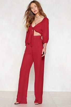 Nasty Gal We Know Your Game Tie Front Jumpsuit