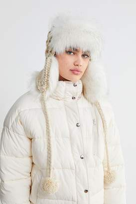 Urban Outfitters Cable Knit Faux Fur Trapper Hat