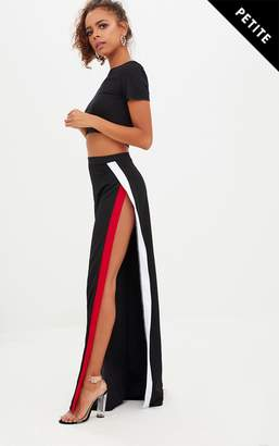PrettyLittleThing Petite Black Extreme Split Flared Trousers