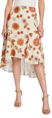 Dodo Bar Or Kathy Floral-Print High-Low Skirt
