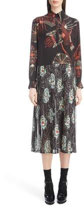 Dries Van Noten Mixed Print Silk Dress