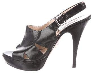 Prada Patent Leather Peep-Toe Sandals