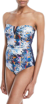 Shan Aqua Blue Bandeau One-Piece Swimsuit