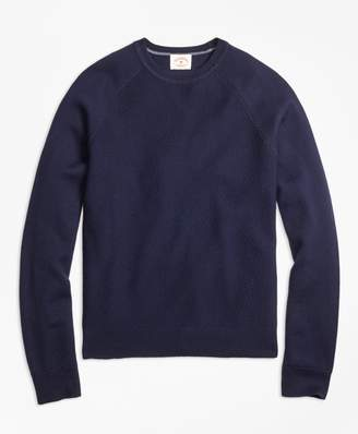 Brooks Brothers Merino Wool Diagonal Texture Raglan Crewneck Sweater