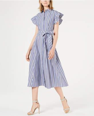 Calvin Klein Striped Flutter-Sleeve Maxi Shirtdress