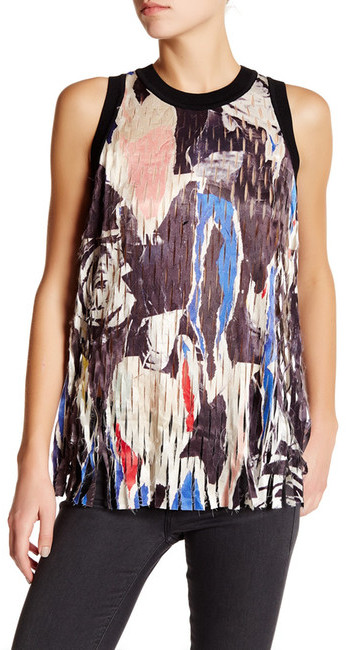 DKNY DKNY Printed Shredded Laser Cut Tank