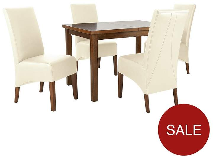 Evelyn 120-150 Cm Solid Wood Extending Dining Table + 4 Eternity Chairs