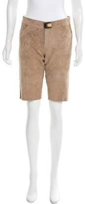 Ecru Knee-Length Suede Shorts