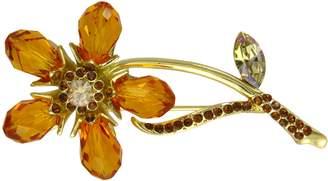 Swarovski Krustallos Crystal Brooch Flower Design (Topaz)