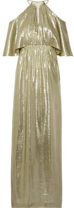 Rachel Zoe Marlene Cutout Metallic Silk-blend Jacquard Gown - Gold
