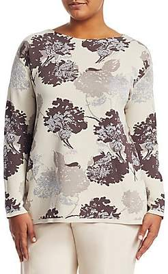 Lafayette 148 New York Lafayette 148 New York, Plus Size Women's Opulent Cotton Floral Jacquard Sweater