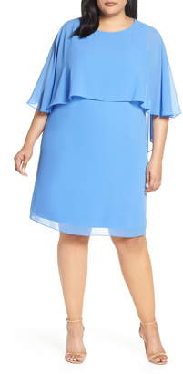 Vince Camuto Chiffon Cape Sheath Dress