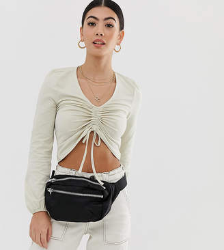 Noisy May Petite ruched front cropped blouse