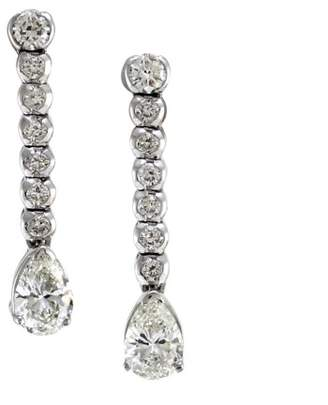 18K White Gold Pear Cut Diamond Drop Earrings