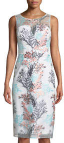 Round-Neck Sleeveless Bustier Floral-Embroidered Cocktail Dress