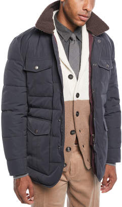 Brunello Cucinelli Men's Padded Technical Jacket with Shearling Trim
