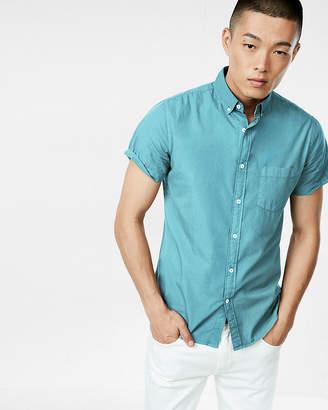 Express Slim Garment Dyed Button Collar Short Sleeve Shirt