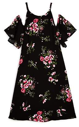 Aqua Girls' Cold-Shoulder Floral Dress, Big Kid - 100% Exclusive
