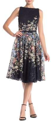 168ec449c5b Gabby Skye Sleeveless Floral Lace Waist Belt Dress