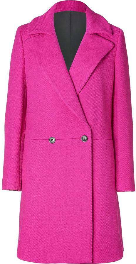 DKNY Fuchsia Wool Blend Coat