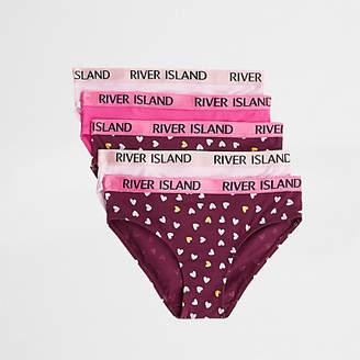 River Island Girls pink heart RI briefs multipack