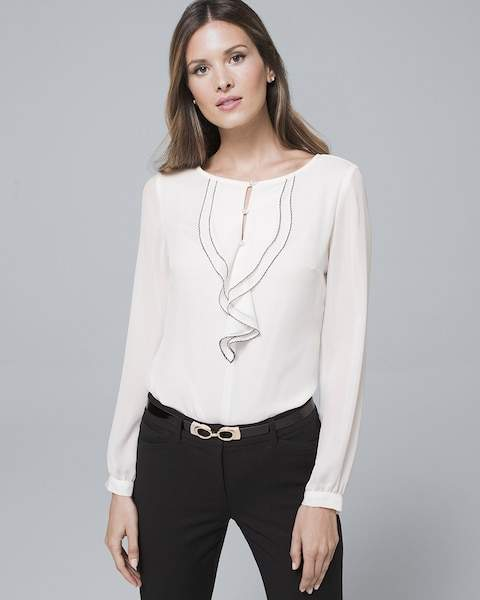Whbm Contrast-Ruffle Blouse