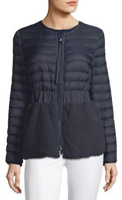 Moncler Hellolite Zip-Front Quilted Puffer Coat with Mink Fur