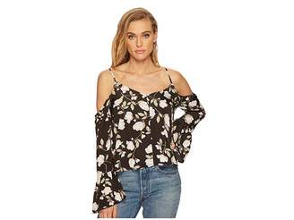 J.o.a. Button Front Cold Shoulder Flare Top