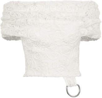 Maticevski Embrace Embroidered Lace Off-The-Shoulder Crop Top