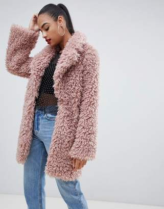 PrettyLittleThing shaggy teddy oversized coat in pink
