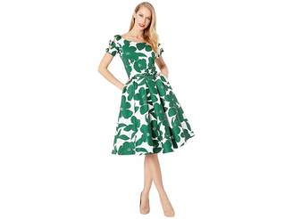 Unique Vintage 1950s Bow Sleeve Selma Swing Dress