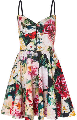 Dolce & Gabbana Pleated Floral-print Cotton-blend Mini Dress - Ivory